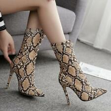 Women Sexy Serpentine Pattern Laced 11cm High Heel Stiletto Pointy Ankle Boots