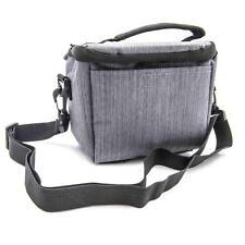 Camera shoulder bag case gray canvas for Nikon D5100, D5200, D5300