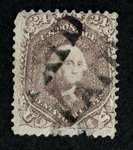 Scott US 70 1861 24¢ Washington, Used / Double PAID Cancel