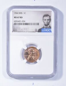 MS67 RD 1966 SMS Lincoln Memorial Cent - Graded NGC *418