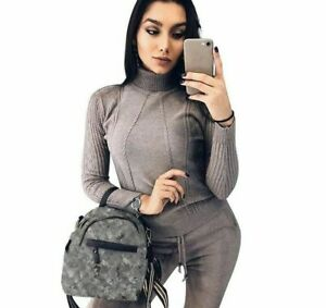 Soft Knitted Womens Suit Twist Knitting Turtleneck Sweater Top Pants Tracksuit