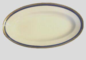 "Richard Ginori Palermo Blue Serving Bowl Oval 9 1/4"" Italy White China Vegetable"