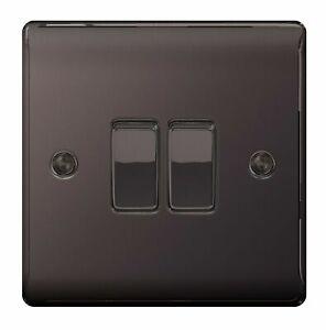 BG Nexus NBN42 Polished Black Nickel Double Light Switch 2 Gang 2 Way Twin