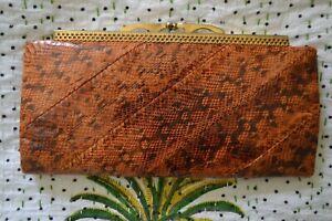 VINTAGE 1980s brown snakeskin clutch bag/handbag