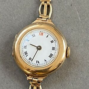 Antique 1917 Ladies 9ct Gold Red 12 Swiss Trench Watch Rolled Gold Strap