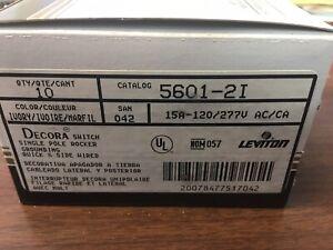 LEVITON 5601-2I DECORA SINGLE POLE ROCKER SWITCH 15A 120/277V IVORY--10 PC BOX