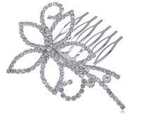 Silvertone Genuine Rhinestone Encrusted Flower Swirl Vogue Bridal Hair Comb