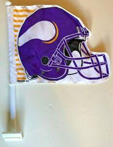 MINNESOTA VIKINGS NFL FOOTBALL HELMET TWO SIDED VINTAGE CAR FLAG NEW/MINT