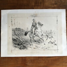 Gravure Le Duc de d'Aumale Henri d'Orléans Signé V. Adam XIXè - Cavalier