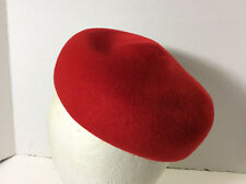 vintage beanie hat 1940s-1960? glenover fawn tro red felt stunning