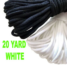 """3mm(1/8"""") Black WHITE Elastic Band Cord Ear Sewing Crafts DIY Material 20 yards"""