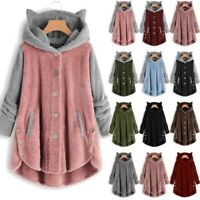 Womens Cat Ears Winter Fleece Hoodie Coat Sweater Long Hooded Jacket Tops Ceng