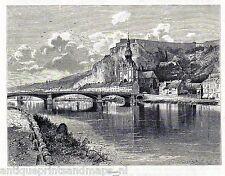 Antique print Dinant Maas river Namur, Belgium 1886 Namen