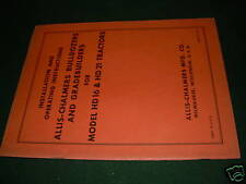ALLIS-CHALMERS 16 WHEEL LOADER PARTS TRACTOR MANUAL