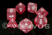 DICE Chessex Frosted RED Glass 7-Dice Set LE427 OOP OUT OF PRINT