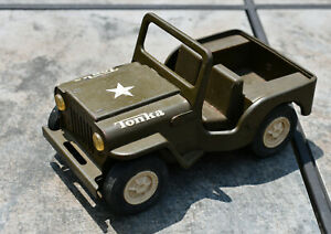 Vintage Tonka Army Jeep 6 Inches Long Nice Condition Pressed Steel & Plastic