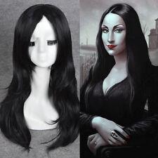 Morticia Addams Adams Family cosplay wig long black natural straight full wigs**
