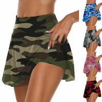 Womens Camo Athletic Pleated Tennis Golf Skirt with Shorts Workout Running Skort