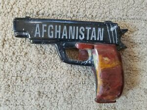 AFGHANISTAN Carved Stone Handgun Semiautomatic Pistol, Soapstone, Banded Calcite