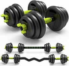 3-in-1 Adjustable Weight Dumbbells Barbell Set with Curved Rod Weight Set of 5/1