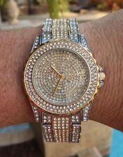 Mens Iced CZ Two-Tone Hip Hop Silver & 14k Gold GP Metal Geneva Platitnum Watch