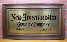 Old NEW AMSTERDAM CASUALTY COMPANY Insurance Co Advert Sign Brass w Wood Frame