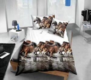 Luxury 3D Print Bedding Set Duvet Quilt Cover Pillowcase Bedroom Queen Horses