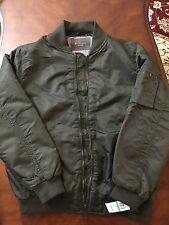 BEN SHERMAN Men Flight Bomber Jacket NWT size L Olive Color Price 225$