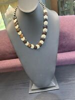 Vintage Bohemian Wood Beaded Statement Brown White Flat Necklace 22""