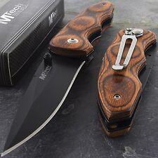 "7.75"" MTECH USA RED WOOD FOLDING POCKET KNIFE Blade Engrave Tactical EDC"