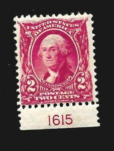 US 1903 Sc # 301 2 c Washington  Mint LH - Plate# - Vivid Color -