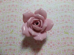 Pink Ceramic Rose - Large 37mm - Flower Bead - Finial Top with Hole - Qty 1