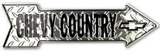 Chevy Country Diamond Plate Arrow Metal Sign Bow Tie Logo Chevrolet Auto Truck