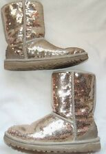 Womens Classic Short 3161 UGG AUSTRALIA Gold Sequined Sparkles Boots Sz 5