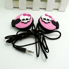 High Girl Skull Pink 3.5mm Clip on Earphone Headphone for MP3/4 Mobilephone
