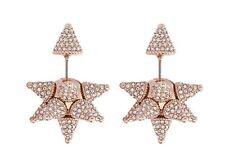 NIB Atelier Swarovski Kalix Double Stud Pierced Earrings Rose Gold 5229322