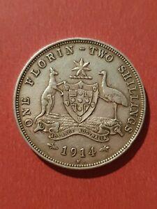 Australia 1914H Florin (925 Silver)