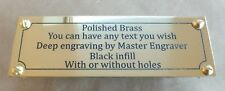 Many Sizes Deep Engraved Brass Name Plate Plaque Painted Infill with or no holes