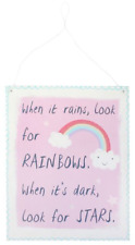 When It Rains LOOK for Rainbows Metal Sign 24 X 19 Cm Christmas Gift