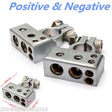 2pcs (- and +) 12V Car Battery Terminal Clamp Copper Alloy Connector With Cover