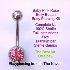 Body piercing kit. belly button, BABY PINK ROSE. Professional sterile kit.