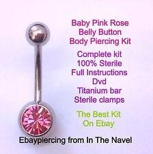 Kit piercing del cuerpo. el Ombligo, Bebé Rosa Rosa. profesional estéril Kit.