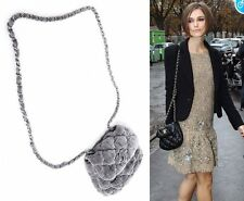 CHANEL Authentic Bubble Chain Shoulder Crossbody Bag in Gray Velvet