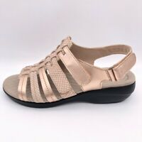Collection By Clarks Womens Slingback Sandals Rose Gold Med Heel Leather 9 W New