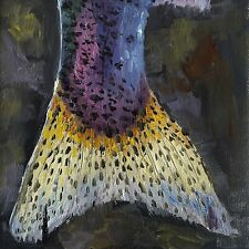 Trout Tail, oil paintings original, Fly Fishing