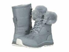 NIB UGG Women's ADIRONDACK III Leather Fluff Winter Waterproof Boots Geyser Gray