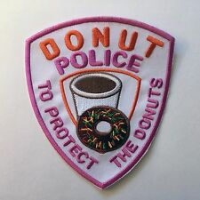 """�👮 Funny 5"""" Donut Police To Protect the Donuts Logo Iron-on Shield/Badge Patch"""