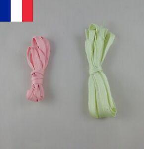 2 X Lacets Plats Chaussures Basket 120 cm Couleur Fluo Flashie Rose ou Jaune