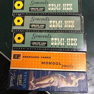 Lot of 5 boxes vintage pencils Venus Eberhard Faber Mongol General's