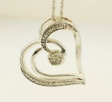 "Sterling Silver 18"" Rope Chain & Diamond(0.20ct) Heart Cluster Pendant (21x21mm)"